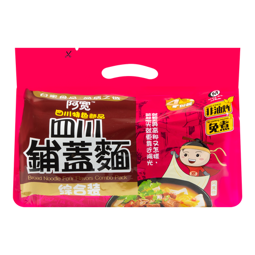 BAIJIA Broad Noodle Four Flavors Combo Pack 480g