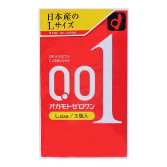 日本OKAMOTO冈本 001系列 超薄安全避孕套 L 大号 3个入