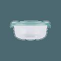 名创优品Miniso 简易盖中号圆形玻璃碗 620ml  绿色