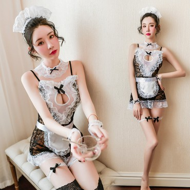 Sexy transparent lace sexy lingerie opening for Feeetmoi Maid uniform seductive passion suit super flirty 7945