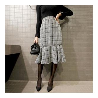 MAGZERO 【秋季新款】 格纹鱼尾剪裁修身下身裙 #黑色 均码(S-M)