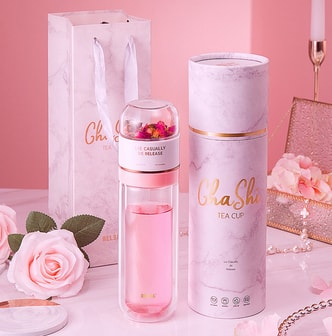 TIMESWOOD Water Bottle Glass Bottle with Stainless Steel Tea Infuser Filter Double Wall Sport Water Tumbler Pink 300 ml