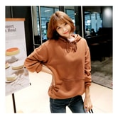 KOREA MAGZERO Oversized Pullover Hoodie Brown One Size(Free) [Free Shipping]
