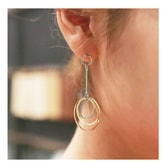 KOREA MAGZERO Pastel Color Triple Ring Metal Earrings [Free Shipping]