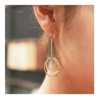 韩国MAGZERO [新品] 个性白搭淡雅色系三重圆圈耳环