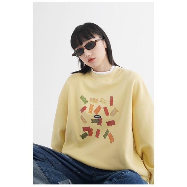 商品详情 - 小熊印花套头圆领卫衣 黄色 / 2 码 - image  0