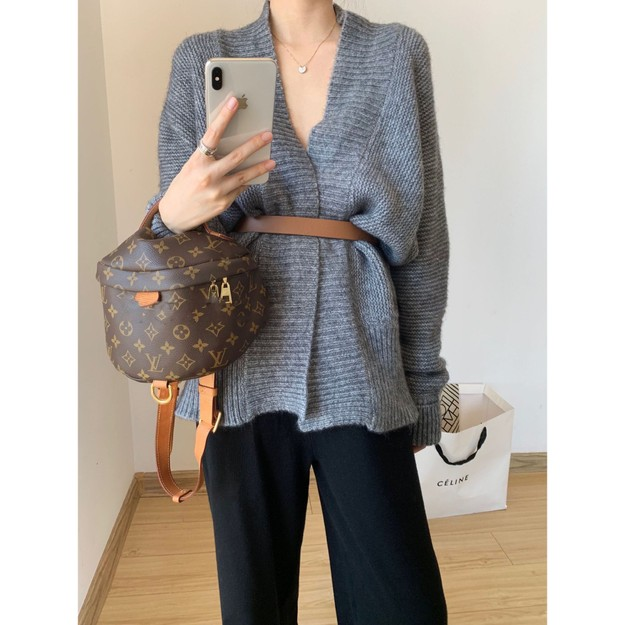 Product Detail - PRINSTORY 2019 Fall/Winter Highly Recommended Soft Cardigan with Belt Grey - image 0