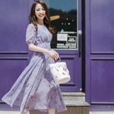 【韩国直邮】ATTRANGS 印花圆领连衣裙 紫色 M