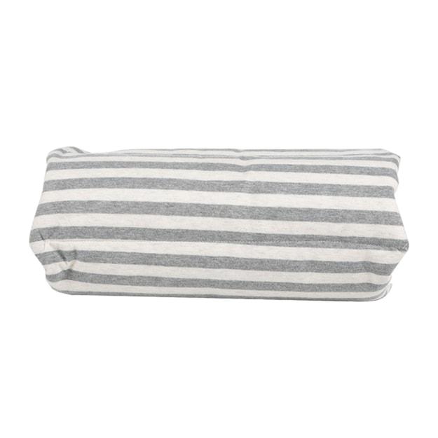 商品详情 - 苏宁极物 日式多功能全棉针织条纹手卷午睡枕坐垫 灰色条纹 - image  0