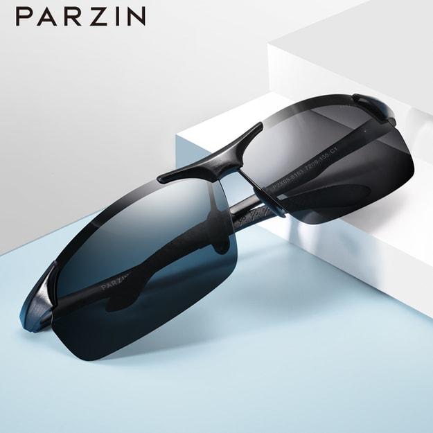 商品详情 - 帕森(PARZIN)铝镁偏光太阳镜男 简约运动太阳镜 时尚司机驾驶墨镜男8183 黑色 - image  0