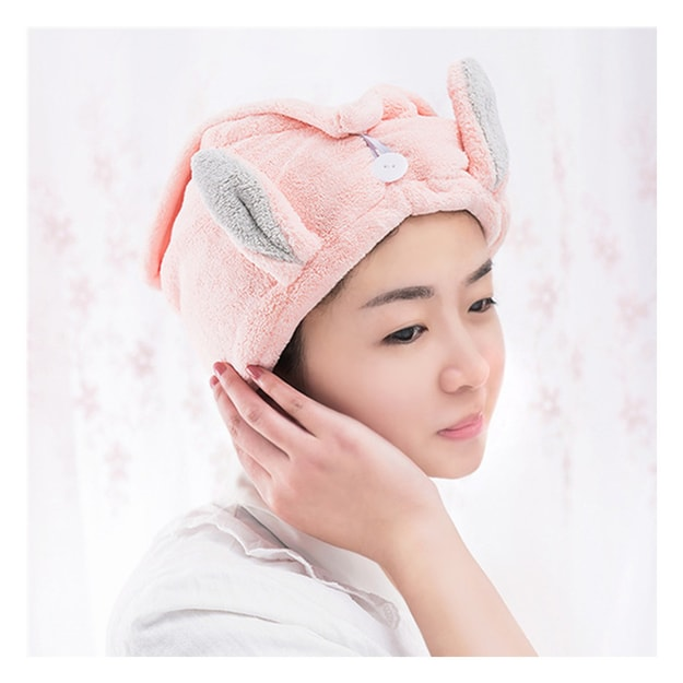 Product Detail - TIMESWOOD Cute Rabbit Ears Coral Fleece Hair Cap Shower Cap Hair Wiping Hair Quick Dry Towel Pink 1PC - image 0
