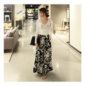 MAGZERO [Special Offer]  Black and White Floral Print Wide Leg Pants One Size(Free)