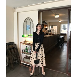 PRINSTORY 2019 Spring/Summer Cute Dot Long Skirt Apricot Orange/S