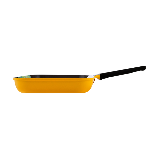 Product Detail - 11 Inch 28cm Ceramic Nonstick Square Grill Pan #Corn Yellow - image  0