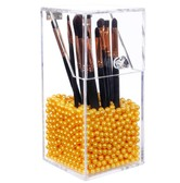 PUTWO Makeup Brush Holder Dustproof Storage Box Premium Quality 5mm Thick Acrylic Makeup Organizer with Gold Pearl Small