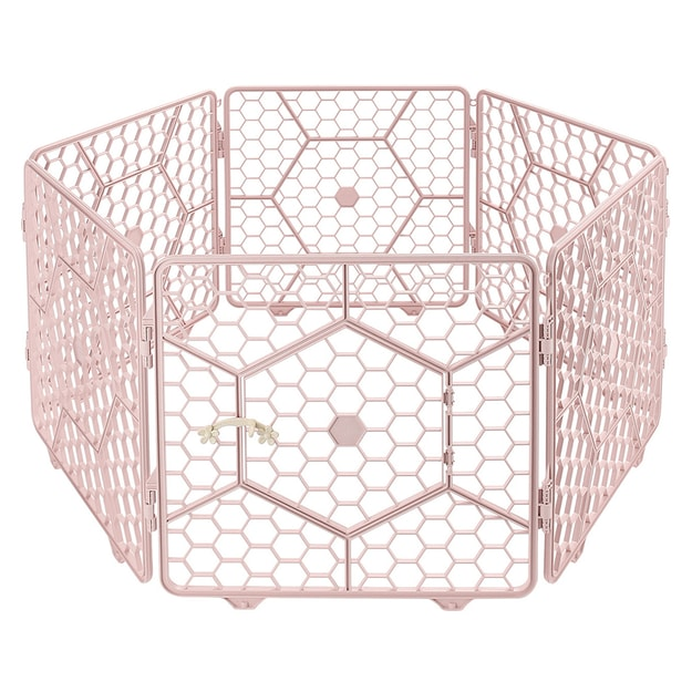 Product Detail - 8-Panel Plastic Customizable Pet Playpen Exercise Fence Cage - (Pink) - image 0