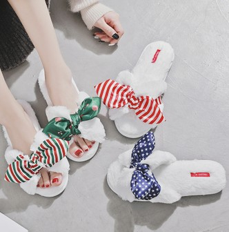 PREMIUM DOWN Women's Holiday Bow Open-Toe Slipper Christmas Candy 38-39