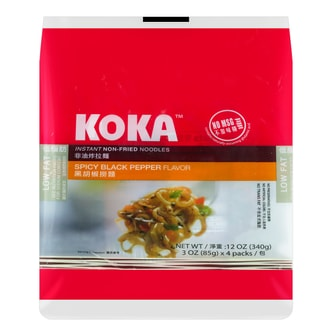 KOKA Instant Non-Fried Noodles Spicy Black Pepper Flavor 4Pcs