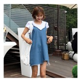 MAGZERO [Special Offer] Denim Cami Dress and White T-shirt 2 Pieces Set One Size(S-M)