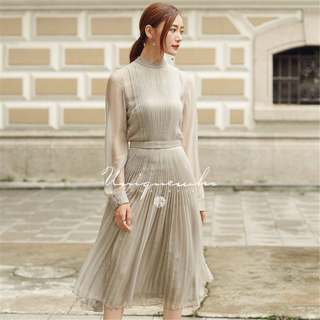 UNIQUEWHO Elegant Gray Silk Imitation Long Sleeve Pleated Dress XS