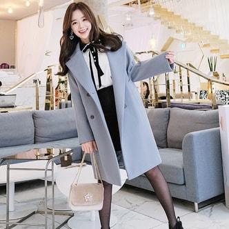 【韩国直邮】ATTRANGS 一字版型双排扣羊毛大衣 天蓝色 均码