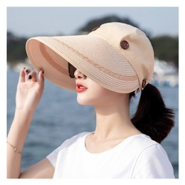 TIMESWOOD Detachable Empty Top Hat Visor Outdoor Big Beach Hat Summer Sun Hat Lemon Yellow 1PC