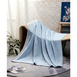 """水星家纺【100% 全棉薄毯】蓝色空间 51"""" x 73""""  夏毯夏被凉被薄被毯子多功能毯空调毯旅行毯沙发毯午睡毯 - 蓝"""