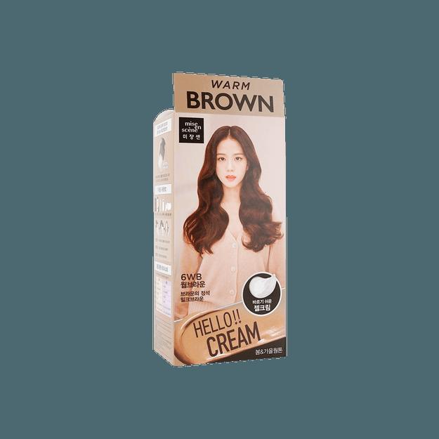 商品详情 - 【2021新色】韩国MISE EN SCENE爱茉莉 美妆仙 HELLO CREAM 染发剂  6WB 暖棕色 单组入  白发可用 - image  0