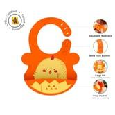 UNCLEWU 婴儿硅胶防水围兜- 小鸡ROZI