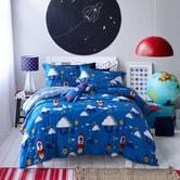 QBEDDING Space Tour Kid's Series 100% Cotton Duvet Cover +Pillow Sham Set F/Q Size