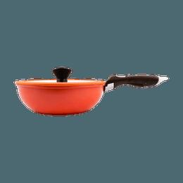 韩国NEOFLAM 10寸 26cm 多功能深底炒锅煎锅厨师锅  含有玻璃锅盖和可拆卸手柄 三件套 #紅色