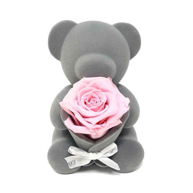 Product Detail - BLOSSOMING LOVE PINK PRESERVED ROSE BEAR MUSIC BOX - image 0