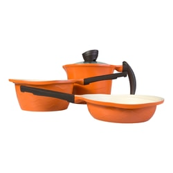 VISIONWARE 4 Piece Ceramic Non Stick Coating Cookware Orange Fry Pan/High and Low Stockpot 16cm