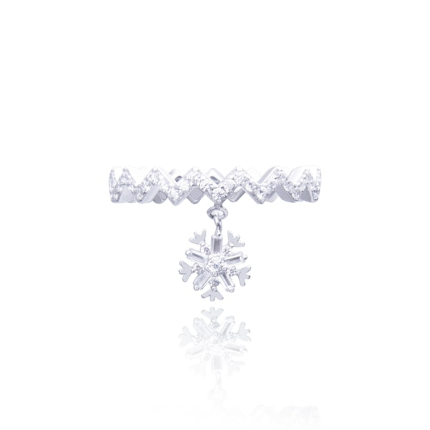 Product Detail - ARSIS wavy ring with a snow flake dangle 1p - image 0