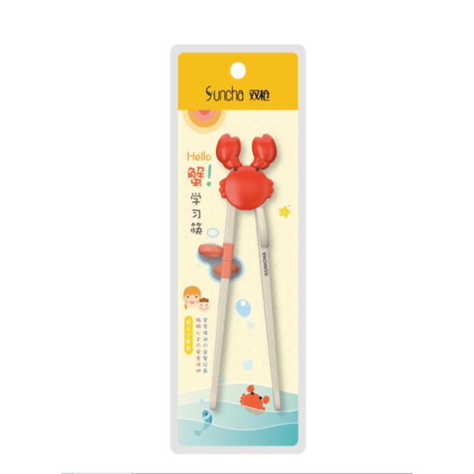双枪学习筷系列 儿童小孩专用 练习筷子 另附硅胶助力头 19cm 1双入 #螃蟹 怎么样 - 亚米网