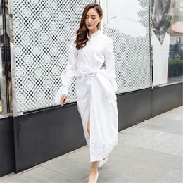 UNIQUEWHO White Pure Cotton Long Sleeve Shirt Dress Belted Midi Dress for Women Ladies S