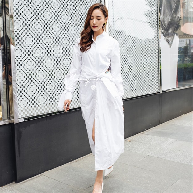 Product Detail - UNIQUEWHO White Pure Cotton Long Sleeve Shirt Dress Belted Midi Dress for Women Ladies S - image 0