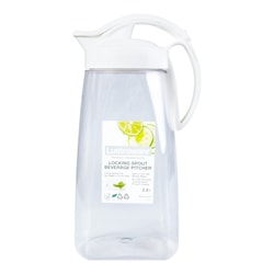 LUSTROWARE Airtght Space Saver Plastic Pitcher w/ Locking Spout for Hot & Cold Beverages 2.17L
