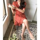 【韩国直邮】CHERRYKOKO New Korean Women Summer Shortsleeves Casual Lady Floral Chiffon dress red free
