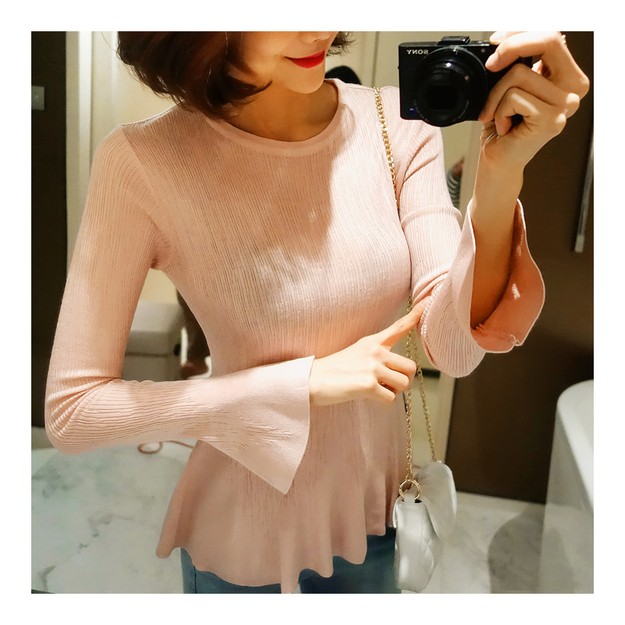WINGS Bell Sleeve Flared Top #Pink One Size(S-M)