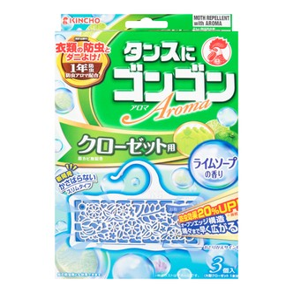 日本KINCHO金鸟 衣物防虫驱螨片  青柠香  3个入 一年防虫