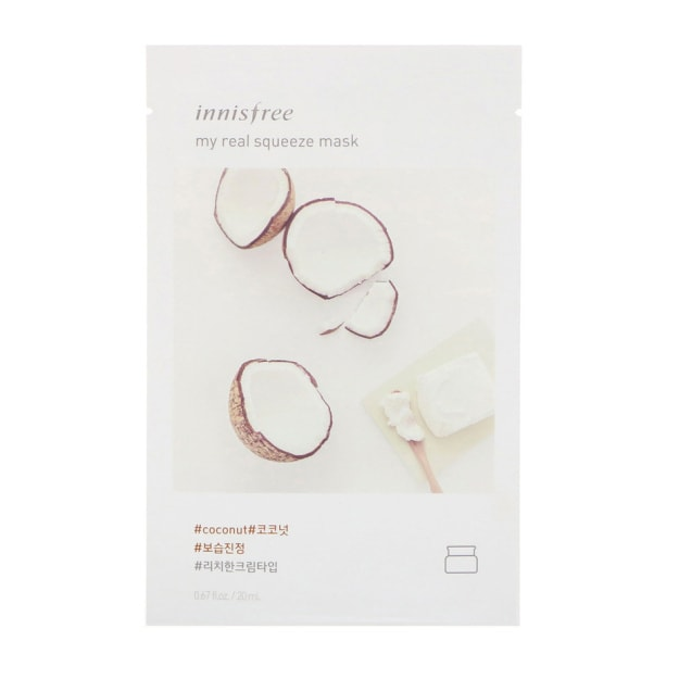 Product Detail - INNISFREE fresh and beautiful facial makeup mask moisturizing and brightening skin care(1 tablet) #Coconut - image 0