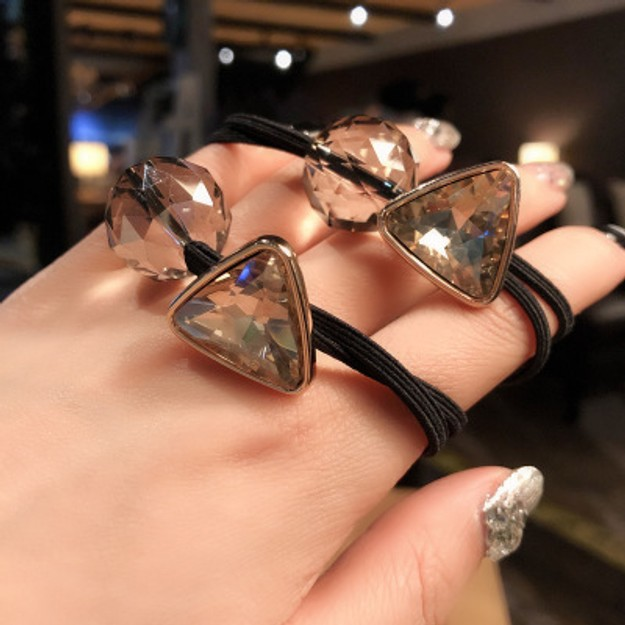 Product Detail - Cinderella selected girl\'s hair rings ins hollow simple geometry lovely hair rope headdress #Single price of champagne - image  0