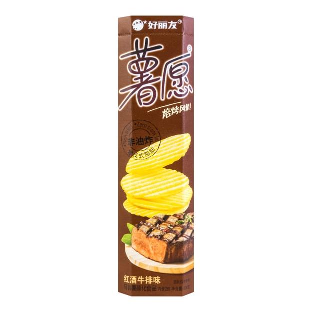 商品详情 - 韩国ORION好丽友 非油炸薯愿薯片 红酒牛排味 2包入 104g - image  0