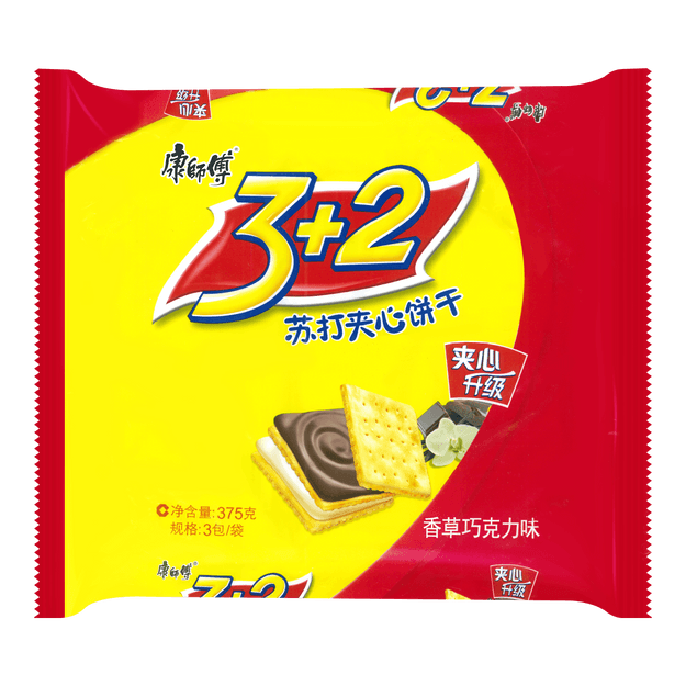 Product Detail - 3+2 Soda Biscuit Vanilla Chocolate 375g - image  0