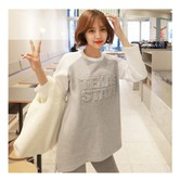 KOREA MAGZERO Embossed letters Fleece Raglan T-shirt Grey One Size(Free) [Free Shipping]