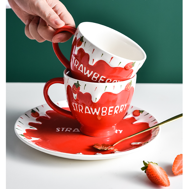 Product Detail - JANE NA 2019Cute Strawberry Ceramic Mug Household Water Cup Red # 1piece - image 0