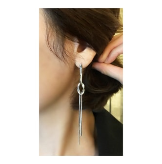 MAGZERO [New Arrival] Knot Chain Drop Earrings #Silver