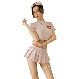 『中国直邮』曼烟情趣内衣女性感甜美透视短上衣百褶裙护士装制服诱惑套装9752粉色均码