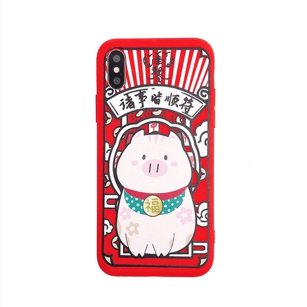 LEARN&WORK Fortune Cat Series Silicone Cell Phone Case For iPhoneX